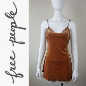 Free People Velvet and Lace Chemise